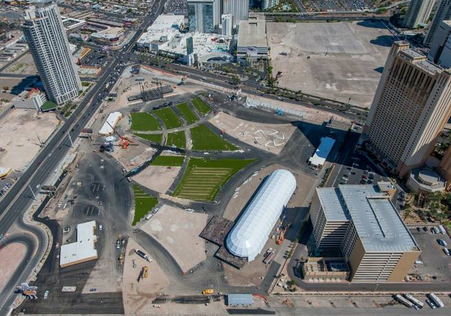 Aerial views of the Las Vegas Strip on Friday, March 27, 2015, including, pictured here, the Rock in Rio USA site, MGM Arena behind New York-New York and Monte Carlo and Pawn Mall.