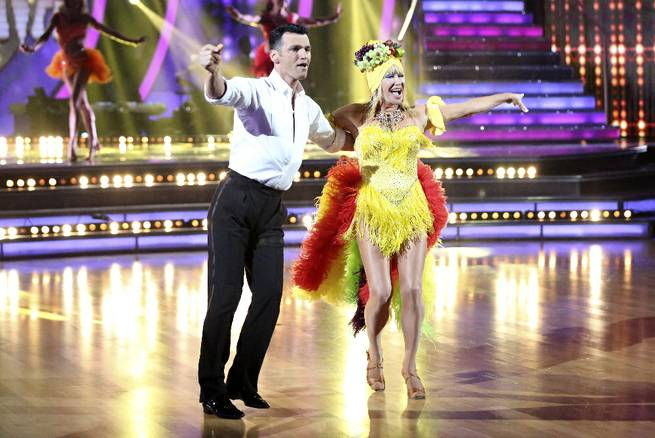 "Tony Dovolani and Suzanne Somers perform during Week 3 of Season 20 of ""Dancing With the Stars"" on Monday, March 30, 2015, on ABC."