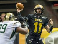 The Las Vegas Outlaws take on the San Jose Sabercats during the Outlaws' first Arena Football League game Monday, March 30, 2015, at the Thomas & Mack Center.
