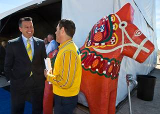 Gov. Brian Sandoval greets IKEA's Joseph Roth as IKEA holds a groundbreaking ceremony for its first store in Southern Nevada on Thursday, April, 9, 2015. Roth is the Expansion Public Affairs Manager and will lead the program.