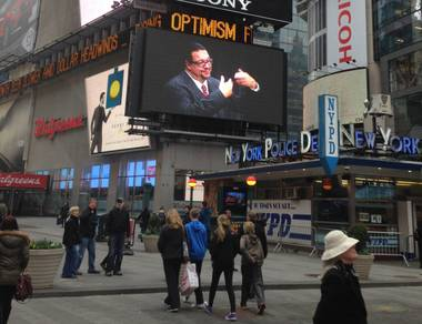 A Mazda commercial starring Penn & Teller runs on an endless loop on a giant Sony LED screen in Times Square in New York. The two Las Vegas headliners  open their first Broadway run in 30 years on July 7 at Marquis Theatre.