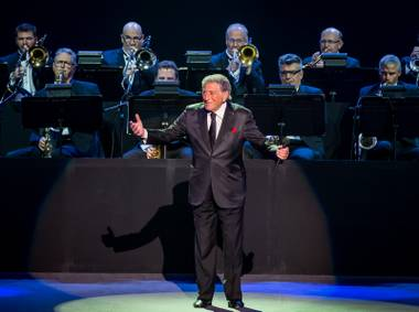 "Tony Bennett performs classic jazz standards from their album ""Cheek to Cheek"" on Friday, April 10, 2015, at Axis at Planet Hollywood."