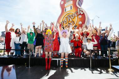 Drag queens dance during the Guinness World Records largest drag queen stage show performance at the Hard Rock Cafe in Las Vegas on Sunday, April 12, 2015.