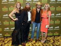 "Korie Robertson, Willie Robertson, Jason Aldean and Brittany Kerr attend the grand opening of ""Duck Commander Musical"" on Wednesday, April 15, 2015, at the Rio."