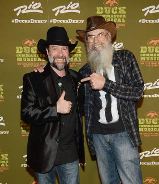"Jesse Lenat and Uncle Si Robertson attend the grand opening of ""Duck Commander Musical"" on Wednesday, April 15, 2015, at the Rio."