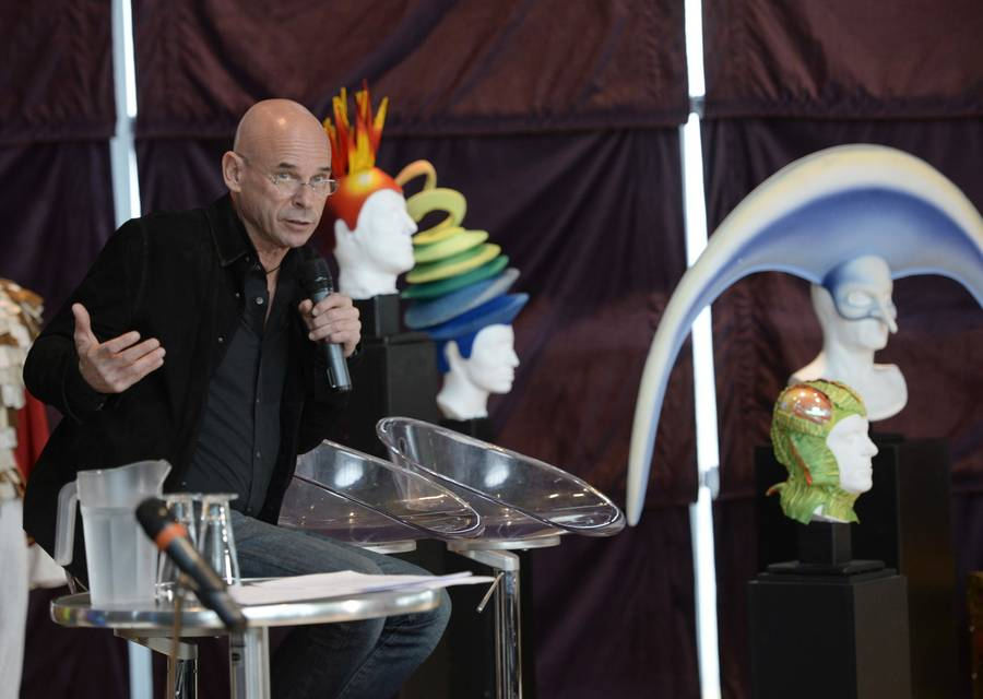 Cirque du Soleil founder Guy Laliberte speaks at a news conference Monday, April 20, 2015, in Montreal. Cirque du Soleil has signed a deal to sell a majority stake in the famed circus group to U.S. private equity firm TPG for a reported $1.5 billion.