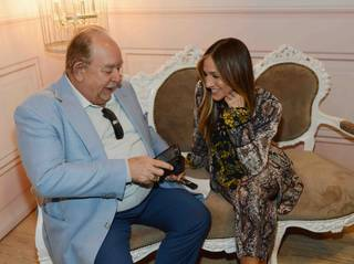 Robin Leach interviews Sarah Jessica Parker during her launch of SJP Pop-Up with Zappos Couture in the Shops at Crystals on Thursday, April 16, 2015, in Aria.