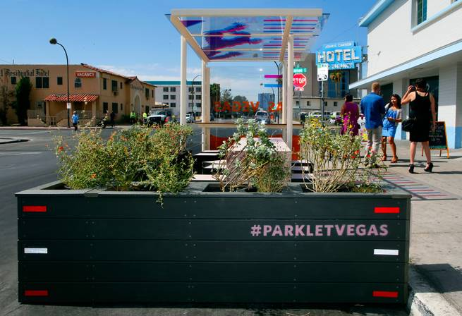 Downtown Las Vegas welcomes the citys first parklet replacing a single parking space, a small public area which allows passersby to relax and enjoy the atmosphere of the city around them on Tuesday, April 21, 2015.
