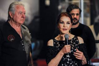 "Westgate Resorts CEO David Siegel, Priscilla Presley and Graceland Holdings Managing Partner Joel Weinshanker attend the grand opening of ""Graceland Presents Elvis: The Exhibition, The Show, The Experience"" on Thursday, April 23, 2015, at Westgate Las Vegas."
