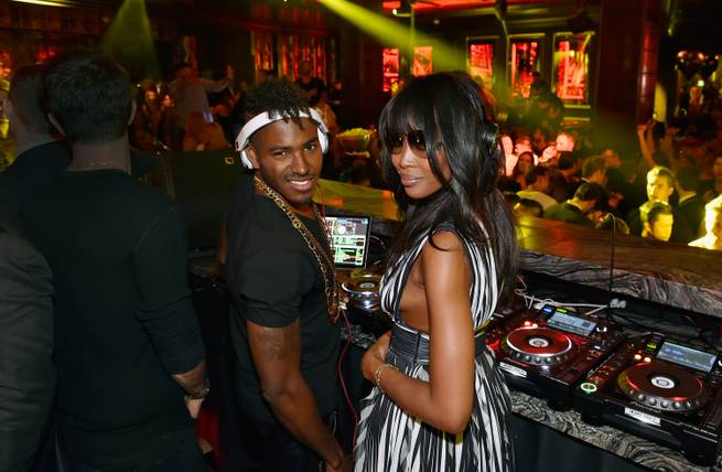 DJ Ruckus and Naomi Campbell at the grand-opening celebration of Omnia in Heart of Omnia on Friday, April 24, 2015, in Caesars Palace.