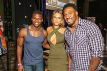 Emmanuel Sanders, Hannah Davis and Steven Jackson attend the Sports Illustrated Draft Viewing Party on Thursday, April 30, 2015, at the Sayers Club in SLS Las Vegas.