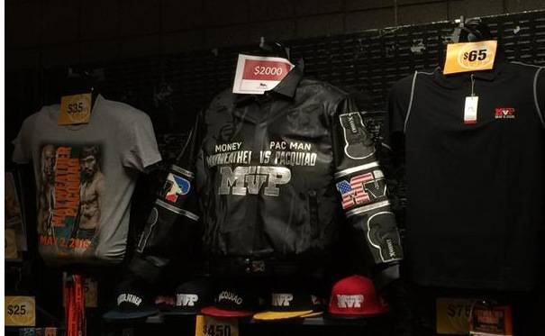 The merchandise table includes a $2,000 jacket Saturday, May 2, 2015.