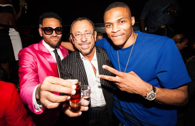 The post-fight party headlined by Chris Brown and featuring 50 Cent, Busta Rhymes, Akon, Tyga, Too Short and more at Drai's Live on Saturday, May 2, 2015, atop the Cromwell. Brown, club owner Victor Drai and Russell Westbrook of the Oklahoma Thunder are pictured here.