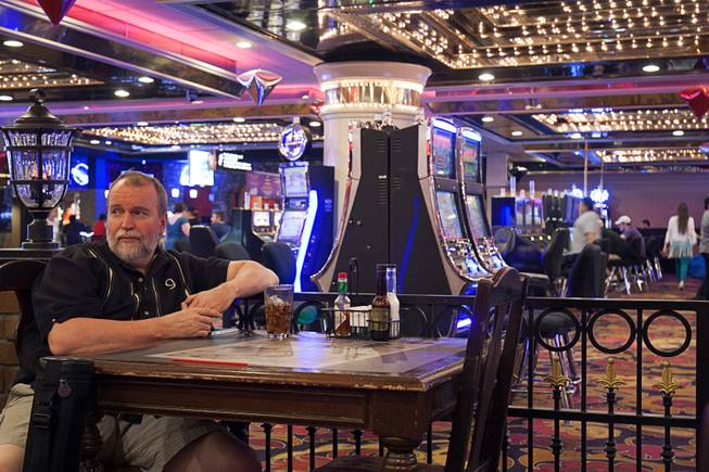 2:08 p.m. - Terry Miller of Huntersville, N.C., stops at the Wicked Vicky Tavern in the Riviera on Sunday, May 3, 2015. Miller was at the Riviera competing in the American Poolplayers Association annual tournament and finished third in his division. The tournament will move to the Westgate next year.