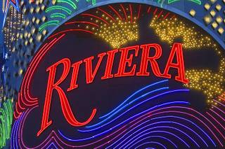 7:45 p.m. - Lights are shown at the Riviera facade Sunday, May 3, 2015.  STEVE MARCUS