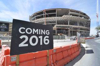 A tour of MGM Arena under construction behind Monte Carlo and New York-New York on Friday, May 1, 2015, in Las Vegas.