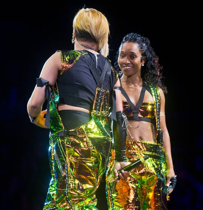 "TLC performs during the ""The Main Event"" tour kickoff Friday, May 1, 2015, at Mandalay Bay Events Center."