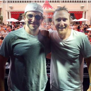 Bradley Cooper and David Guetta at Encore Beach Club on Saturday, May 2, 2015, in Las Vegas.