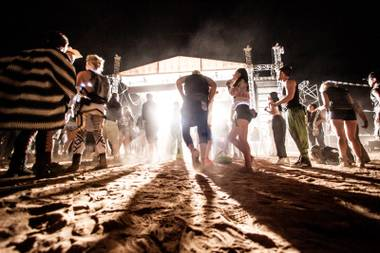 Festival goers dance through the night at Further Future.