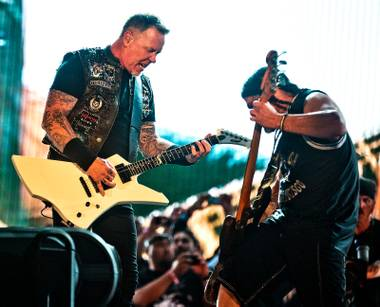Metallica performs as headliner for the crowd  ending Day 2 of Rock in Rio USA on Saturday, May 9, 2015.