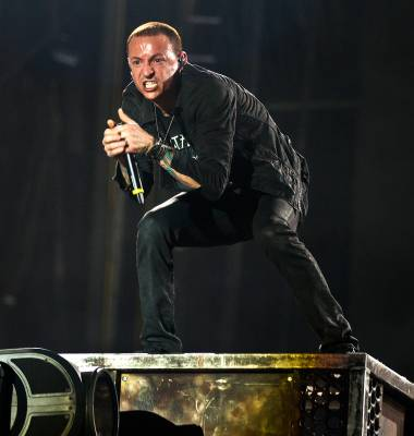 Linkin Park performs for the crowd late Day 2 of Rock in Rio USA on Saturday, May 9, 2015.