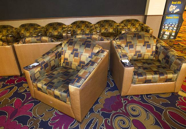 Arm chairs ($110.00) from the sports book are shown during the first day of a liquidation sale at the Riviera Thursday, May 14, 2015.