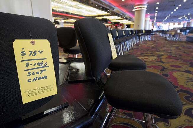 Slot chairs ($75 each) are shown during the first day of a liquidation sale at the Riviera on Thursday, May 14, 2015.