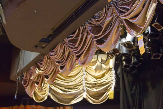 A 48-foot gold drape ($4,000.00) is shown in Le Bistro Theater during the first day of a liquidation sale at the Riviera Thursday, May 14, 2015.