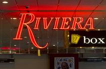A Riviera neon sign ($395.00) is shown during the first day of a liquidation sale at the Riviera Thursday, May 14, 2015.