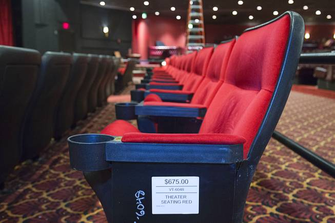 A row of seats ($675.00) is shown in the Versailles Theater  during the first day of a liquidation sale at the Riviera Thursday, May 14, 2015.