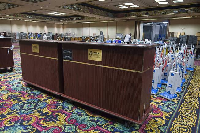 Portable bar fronts ($345.00 each) are shown during the first day of a liquidation sale at the Riviera Thursday, May 14, 2015.