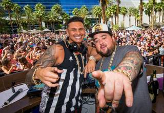 DJ Pauly D, with Chumlee, leads the daytime party at Rehab that included Chumlee on Sunday, May 17, 2015, in the Hard Rock Hotel.