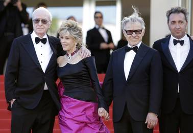 "Actors Michael Caine, Jane Fonda and Harvey Keitel and director Paolo Sorrentino attend the screening of their film ""Youth"" at the 68th Cannes International Film Festival on Wednesday, May 20, 2015, in France."
