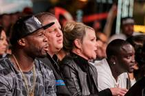 50 Cent, Derek Stevens, his wife Nicole Parthum and Akon at DLVEC on Friday, May 22, 2015, for boxing.