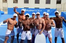Guest MC Tyson Beckford, third from left, and his Chippendales at the Rio cast mates at Flowrider on Sunday, May 24, 2015, at Planet Hollywood.
