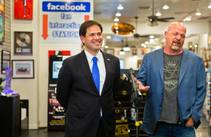 GOP presidential candidate Marco Rubio is introduced by Rick Harrison at World Famous Gold & Silver Pawn Shop on Tuesday, May 28, 2015, during his first visit to Las Vegas as a declared candidate.