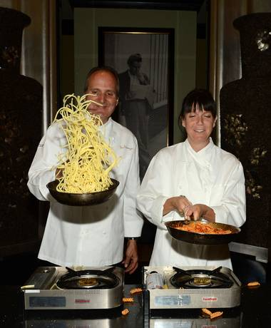 Sinatra executive chef Theo Schoenegger and Frank Sinatra's granddaughter A.J. Lambert lead an interactive cooking class at Sinatra on Friday, June 5, 2015, in Encore Las Vegas.