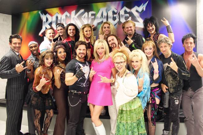 "Debbie Gibson, center, and the cast of ""Rock of Ages"" at the Venetian."