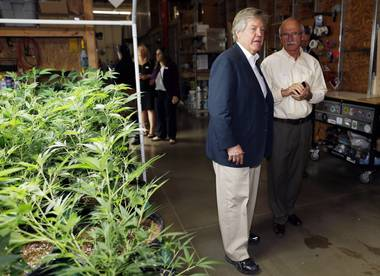 In this photo taken Saturday, April 25, 2015, Nevada Sen. Tick Segerblom and Ronald Dreher, government affairs director for Peace Officers Research Association of Nevada, pass by an area with marijuana plants under cultivation as Nevada lawmakers, their staffers and lobbyists toured two retail and grow operations for medical and recreational marijuana in northeast Denver.