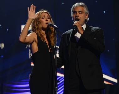 "Celine Dion and Andrea Bocelli perform ""The Prayer"" during the 2015 Keep Memory Alive ""Power of Love"" gala Saturday, June 13, 2015, at MGM Grand Garden Arena."