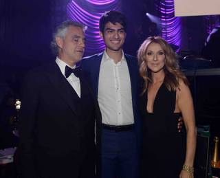 "Andrea Bocelli, Matteo Bocelli and Celine Dion backstage at the 2015 Keep Memory Alive ""Power of Love"" gala Saturday, June 13, 2015, at MGM Grand Garden Arena."