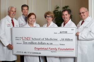 A recently announced $10 million donation from the Engelstad Family Foundation will provide 25 scholarships for the UNLV medical school's first class of 60 students in fall 2017 as well as 25 scholarships for each of the school's next three classes.