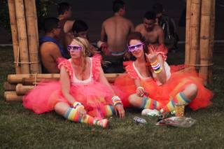 Festival goers take a break during day two of the 2015 Electric Daisy Carnival, Saturday, June 20, 2015.