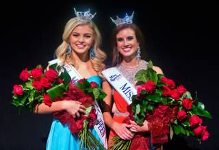 Newly crowned Miss Nevada Outstanding Teen Lauren Watson and Miss Nevada Katherine Kelley together on the stage following the pageant at the Smith Center on Saturday, June 27, 2015.
