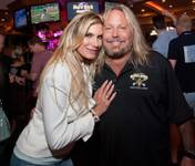 Rain Hannah and Vince Neil attend the last hurrah at Center Bar on Sunday, June 28, 2015, in the Hard Rock Hotel.