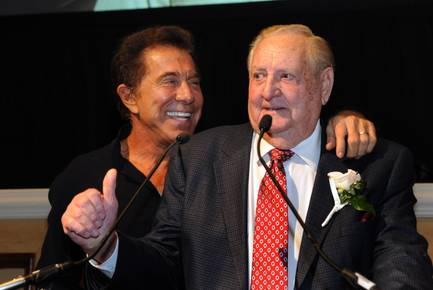 "Steve Wynn and former Clark County Sheriff Ralph Lamb share a laugh before the CBS premiere of ""Vegas"" on Tuesday, Sept. 25, 2012, at Green Valley Ranch Resort."