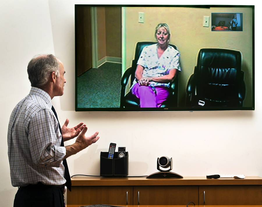 Dr. Charles Bernick at the Lou Ruvo Center for Brain Health conducts a telehealth session with Sue Burich who is a nurse supervisor at the Ruvo Center in Elko, Nevada.