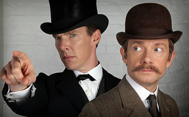 "This photo shows Benedict Cumberbatch, left, as Sherlock Holmes and Martin Freeman as Dr. John Watson, from the ""Sherlock"" special."