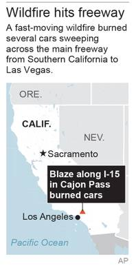 Motorists flee as wildfire races across California freeway - Las