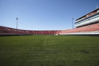 Renovations at Sam Boyd Stadium this summer brought new turf to the facility for the first time since 2003. The $1.2 million project also widened the playing surface, which cut 860 total seats from the east and west sidelines.